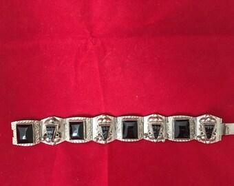 Silver bracelet , black stones, marked Mexico