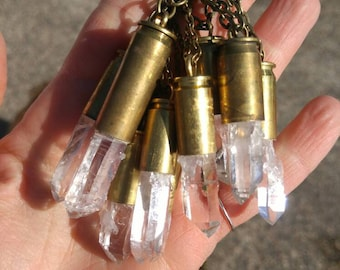 Quartz Recycled Bullet Necklace