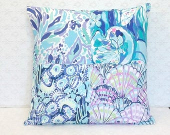 Preppy Blue Purple Lilly Pulitzer Fabric Patchwork Pillow Cover 20x20