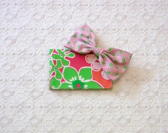 Preppy Pink Lilly Luscious Daiquiri Passport Case Hair Bow Set 2pc