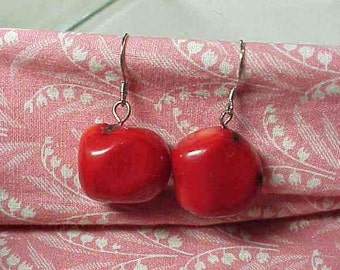 Red Coral Chunky Drop Pierced Earrings 925 Sterling wires