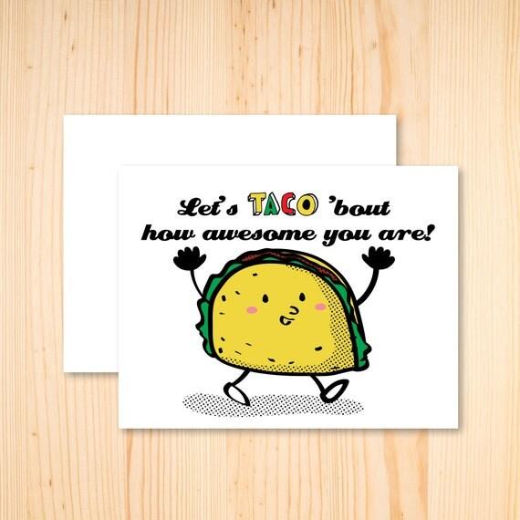 Funny Taco Card Funny Food Pun Card Taco Card Card For Him