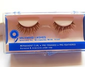 Vintage False Eyelashes 1960's from Milkmaid Lashes Minnetonka , Minn Butterfly Lash Permanent Curl Pre-Trimmed, Pre-Feathered Strip Lashes