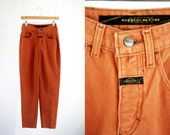 Vintage Marithé François Girbaud 90s Orange Denim High Waist Tapered Leg Relaxed Fit Woman's Retro Jeans