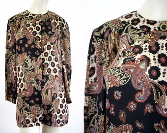 Animal Print and Brown Tone Long Vintage Woman's Tunic Blouse