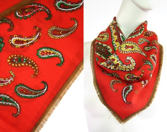 Vintage Red Paisley 80's Square Retro Scarf