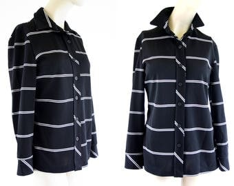 Vintage Black and White Stripe Button Down Long Sleeve Polyester Unisex Retro Blouse