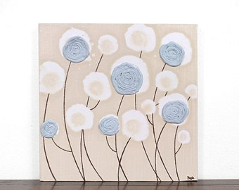 ON SALE Textured Flower Painting on Canvas - Blue and Khaki Rose Wall Art - Small 12x12