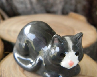 "Dark Gray Sitting Kitten Cat miniature ceramic decoration for your terrarium or garden 1 "" tall  tk"