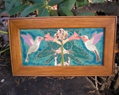 Hummingbird  Duet Tiles Framed arts and crafts style , great detail ,handcrafted, mission style