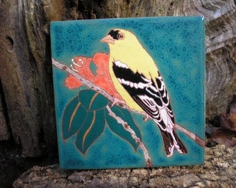 Goldfinch tile -READY TO SHIP-Arts and Crafts style, great detail perfect for birders, kitchen,bath,fireplace surround, or framed