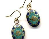 Nepali Spiral Earrings, Blue Turquoise Tibet Earrings made with 18K Gold Filled Wire, Lapis and Turquoise  Earrings  Beads from Nepal