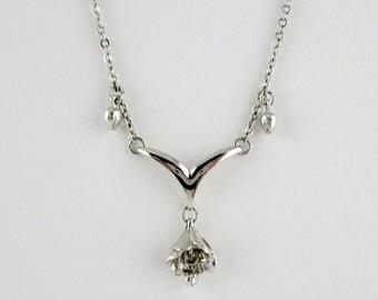 Sterling Necklace Bell flower Rhinestone dangle