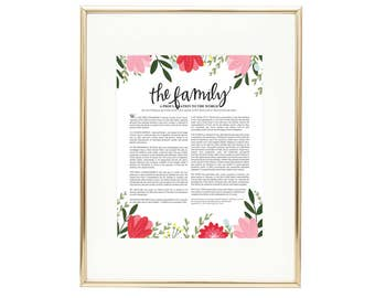 The Family Proclamation - Floral LDS Wall Art