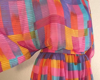 Glamrock Vintage 80s Colorblocked Kimono Sleeve Dress
