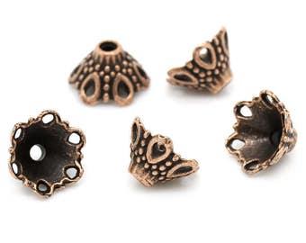 Antique Copper Bead Cap - Set of 30 - #SBC136