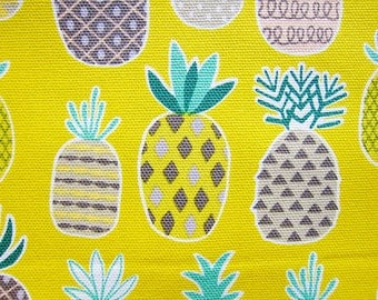 Pineapple Fabric - Japanese Fabric Cotton Canvas - Pineapples on Yellow - Fat Quarter - Cosmo Textile