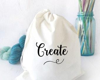 Cotton Drawstring Bag- Craft Bag- Cotton Crochet Bag- Sock Knitting Bag- Craft Tote- Cotton Project Bag- Crochet Bag- Drawstring Bag-