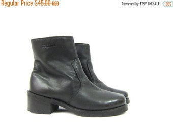 Black Leather ankle Boots DURANGO Zip Up Snow boots Chunky Heel Boots Goth Gothic Hipster Men's Size 7 D women's size 9.5