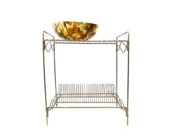 Mid Century Gold Metal Shelf Vintage Wire Record Holder Shelf Retro Plant Stand Book Shelf Home Decor Retro Modern Home Decor