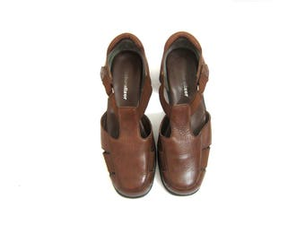 Brown Leather Sandals Strappy Leather Flats Huaraches Women's Boho Closed Toe Sandals Vintage Womens Shoes Size 8