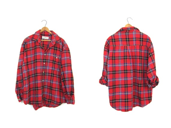 90s Plaid Flannel Shirt Red Black Grunge Shirt Button Up Long Sleeve Cotton Preppy Tomboy Boyfriend Work Shirt Vintage Mens Large