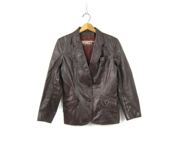1970s Women's Leather Jacket Winlet Cafe Blazer Coat Vintage Dark Oxblood Brown Fitted Button Down Hipster Urban Wear Small