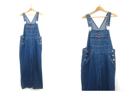 Vintage Jean Bib Overalls Denim Carpenter 1990s Engineer Work Pants Blue Farmer Bibs workwear Jeans Women's Juniors Large