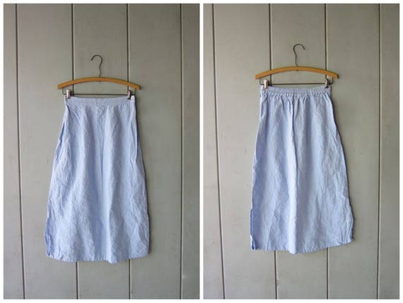 Vintage Natural Linen Skirt Long Minimal Midi Skirt Modern Light Blue Linen Skirt Basic Minimal Spring Summer Casual Skirt Womens Medium