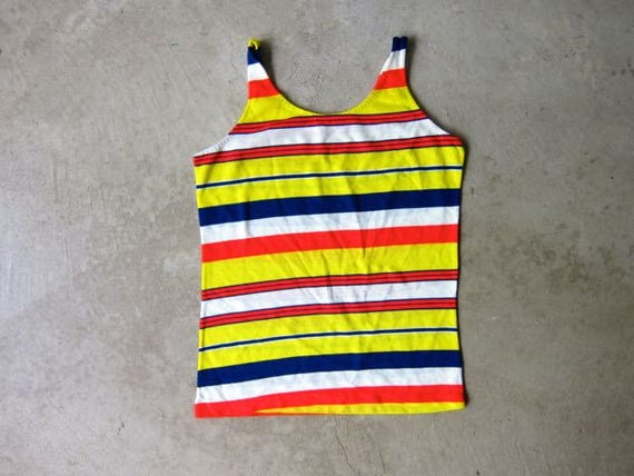 Vintage 70s Striped Tank Top Yellow Red Blue White Tee Hipster Grunge Beach Surfer Shirt 60s Retro Tank Womens Small Medium