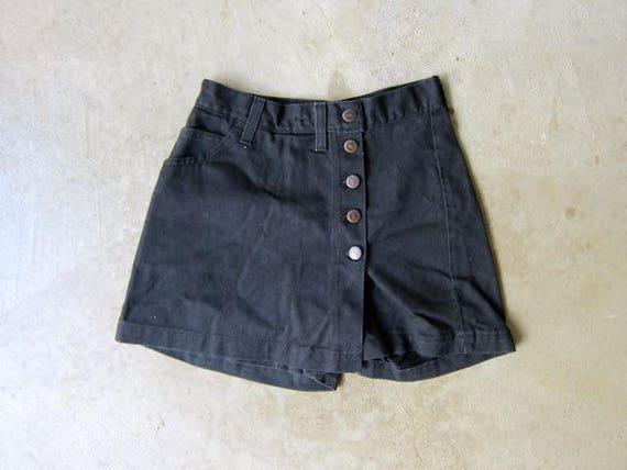 """Black Denim Mini Wrap Skirt Jean SKORTS 80s Black Denim Culottes High Waist Shorts Vintage Denim Shorts Summer Girl Womens 25"""" Waist 3/4"""