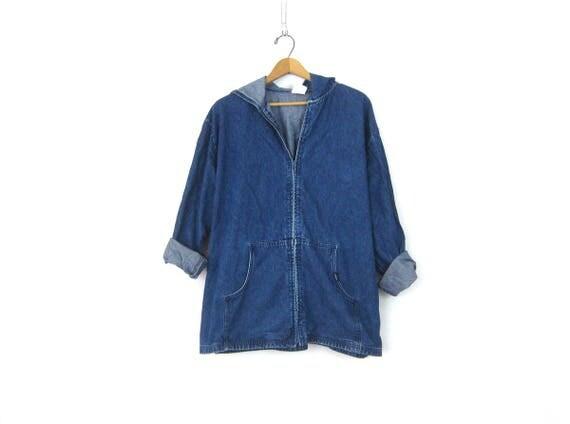 Oversized Jean Jacket Minimal Dark Blue Denim Cotton Coat with Hood Vintage Spring Hooded Jacket Preppy Loose Fit Womens size 2X XXL