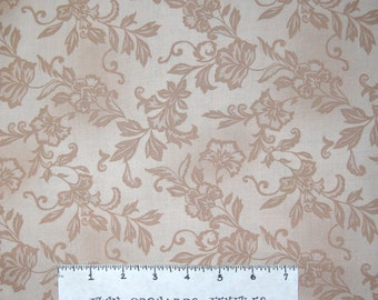 Calico Fabric - Medium Floral & Vine Tan - Timeless Treasures YARD