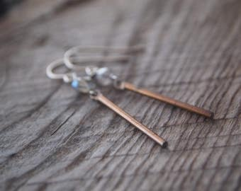 Labradorite & Brass Drop Earrings