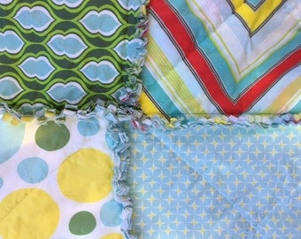 Rag Quilt Baby Toddler Gender Neutral Boy Girl Blue Green Yellow Heather Bailey Nicey Jane