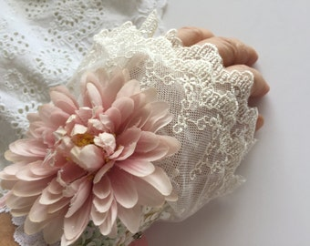 Ivory Bridal Lace Cuff Shabby Dress Blush Pink Silk With Vintage Millinery Shabby Rose Boho Chic Bohemian Style Cuff
