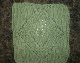 Hand Knit Sage Green Dishcloth - measures approximately 9x91/2 inches