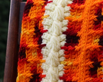 Pumpkin Orange Fall Colors Lap Afghan Handmade Couch Throw Stroller blanket Toddler afghan 39x32