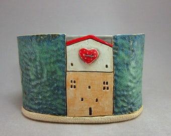 Heart Button...Bud Vase in Stoneware by elukka