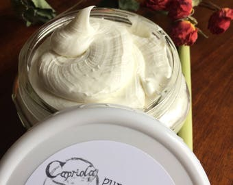 Camelina goat milk cream | face + body Lotion | Lemongrass + Rose Essential Oil | softening Aloe natural body butter | 8 oz recyclable glass