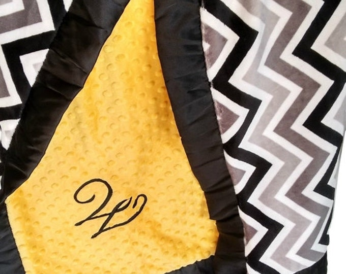 SALE Yellow and Gray Minky Blanket, Gray Chevron Print - Crib Blanket, Baby Blanket, or Lovey in Yellow and GrayCan Be Personalized