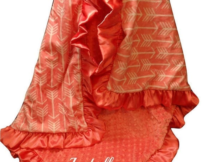 Photoprop CLEARANCE Coral Arrow Gift Blanket, Minky Baby Blanket, Coral Swaddle Receiving Blanket