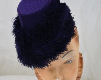 Purple Perch Hat with Feather