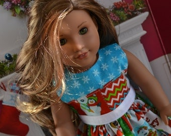 18 inch Doll Clothes - Christmas Dress - North Pole Visitors - RED GREEN WHITE blue - fits American Girl