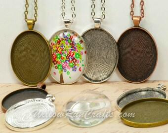 10 DIY Pendant Kits, Make 30 x 40 Oval Pendant Trays with Glass and Chain, Pick your choice of chain and colors