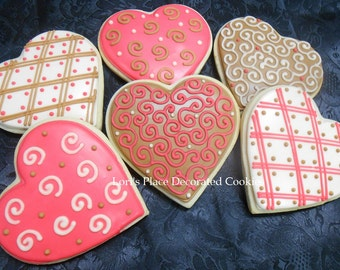 Heart Cookies - Heart Wedding Cookies - Valentine's Day Cookies - 6 cookies