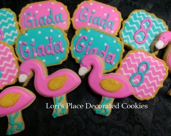 Flamingo Birthday Cookies - 12 Cookies