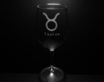 Taurus Symbol 13 Ounce Wine Glass