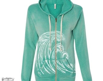 Womens WAVES Fleece Full Zip Hoody S M L XL (limited print run)