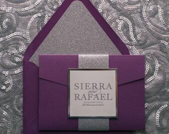 Letterpress, 1 color  - Fancy Purple and Silver Glitter Pocket Folder Wedding Invitations - SAMPLE (ALYSSA)